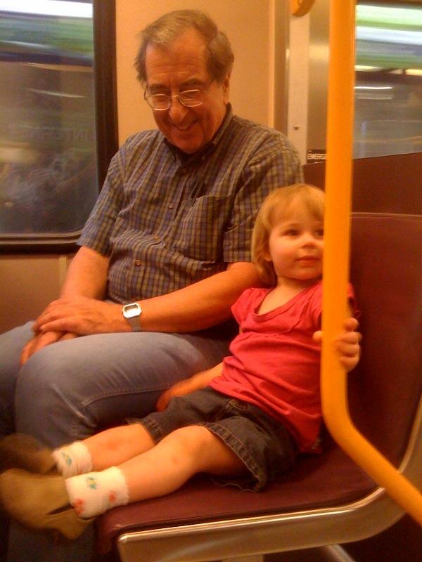 """Move, Mama. I want Grandpa Doug to sit next to me."""