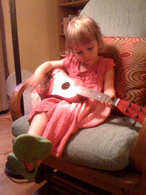 Tonight, E takes up the ukelele