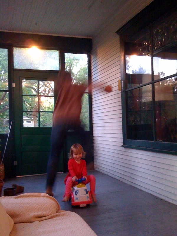Uncle Charles obligingly plays the Leap Over game