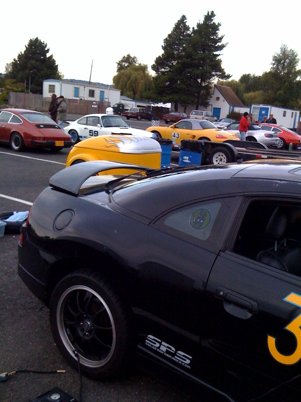 I'm the mudhen among the peacocks at today's Porsche Club autocrossing
