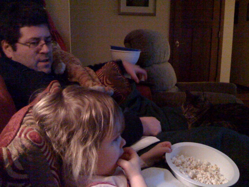 We love our family movie nights (not complete without popcorn, and cat)