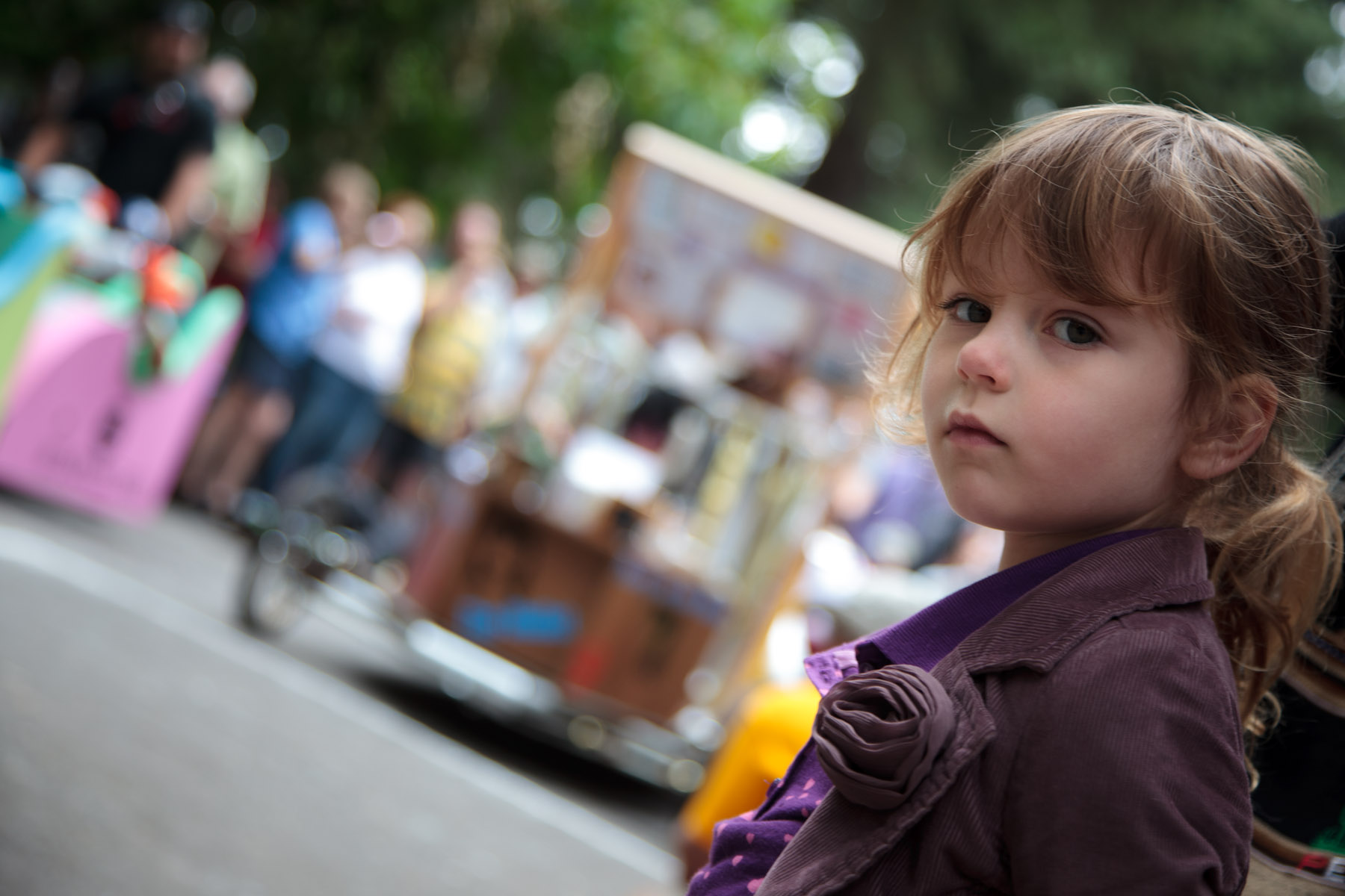 My thoughtful looking girl at the Soapbox Derby starting line