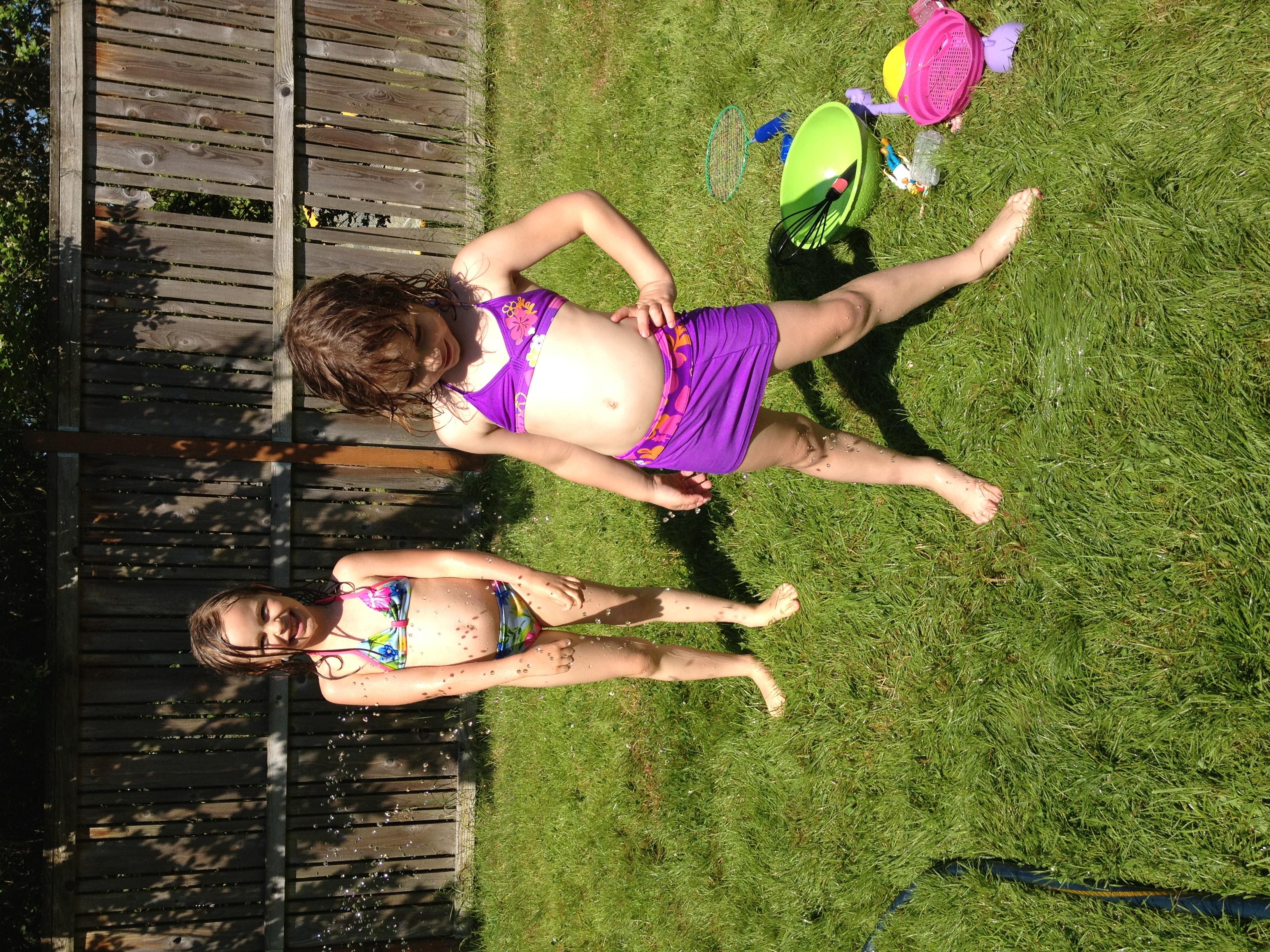 Summer girls giggling in homemade